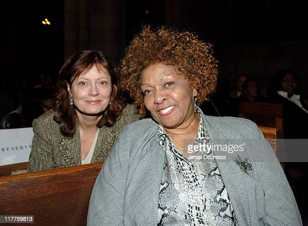 Susan Sarandon and Cissy Houston during The 'Realizing the Dream' Martin Luther King Jr Tribute Reception at Riverside Church in New York City New...