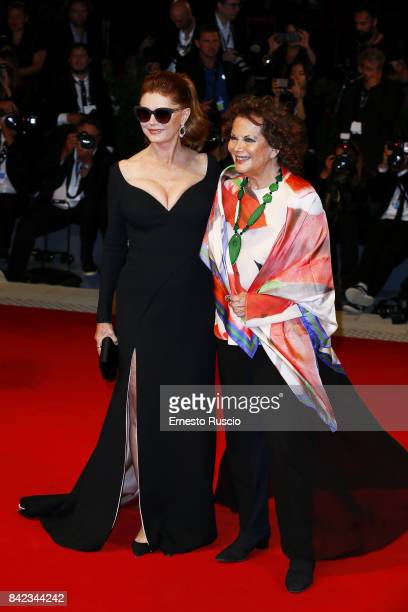 Susan Sarandon and Claudia Cardinale walk the red carpet ahead of the 'Victoria Abdul' screening during the 74th Venice Film Festival at Sala Grande...