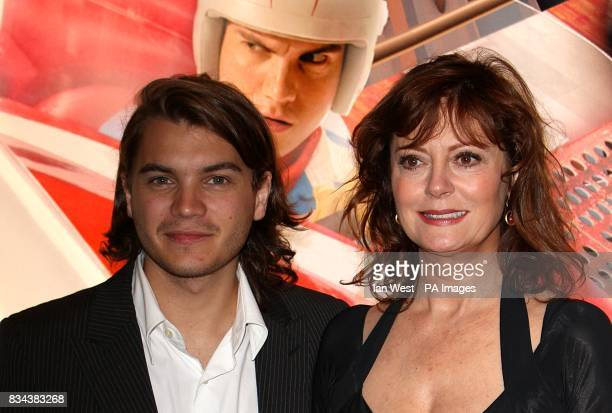 Susan Sarandon and Emile Hirsch arrive for the UK premiere of Speed Racer at the Empire Leicester Square London WC2