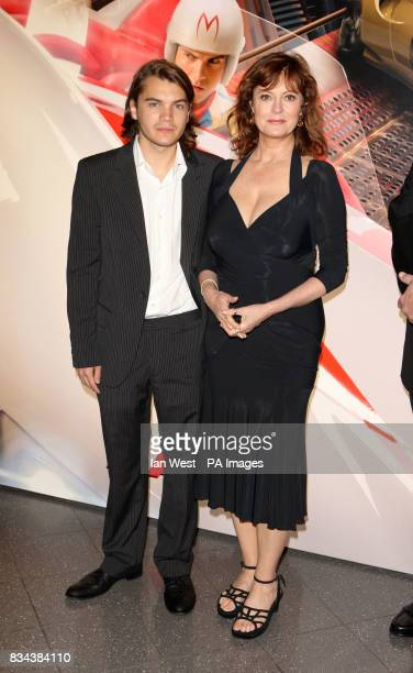 Susan Sarandon and Emile Hirsch arrive for the UK premiere of Speed Racer at the Empire Leicester Square in central London