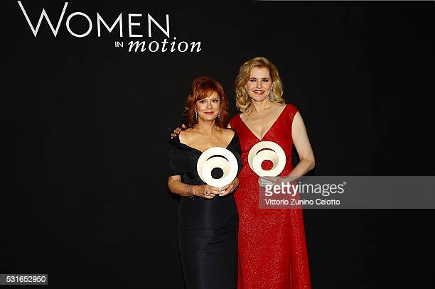 R Susan Sarandon and Geena Davis attend the Award Ceremony during Kering And Cannes Festival Official Dinner At The 69th Cannes Film Festival at...
