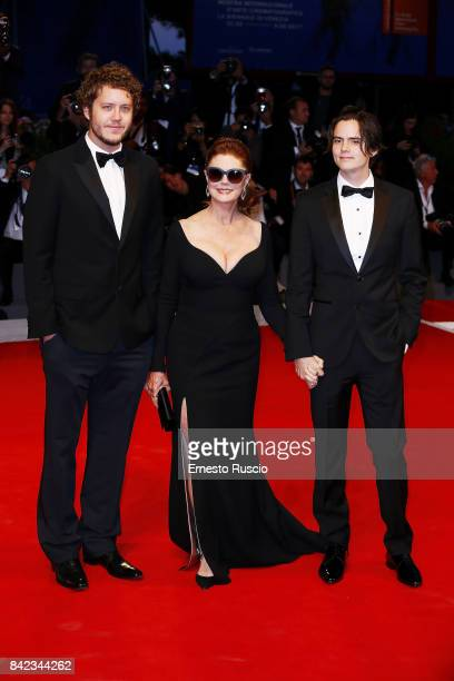 Susan Sarandon and her sons Jack Henry Robbins and Miles Robbins walk the red carpet ahead of the 'Victoria Abdul' screening during the 74th Venice...