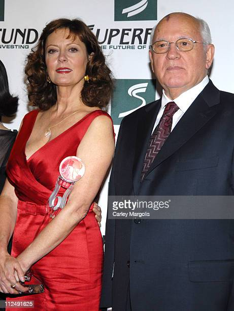 Susan Sarandon and Mikhail Gorbachev during 3rd Annual Womens World Awards Press Room at The Hammerstein Ballroom in New York City New York United...