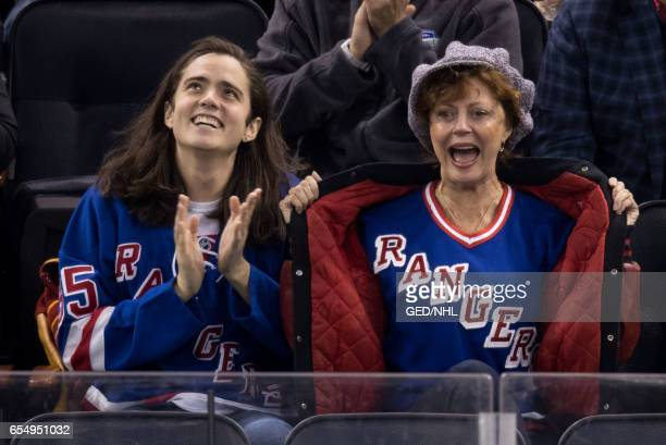 Susan Sarandon and Miles Robbins seen attend Florida Panthers Vs New York Rangers game at Madison Square Garden on March 17 2017 in New York City