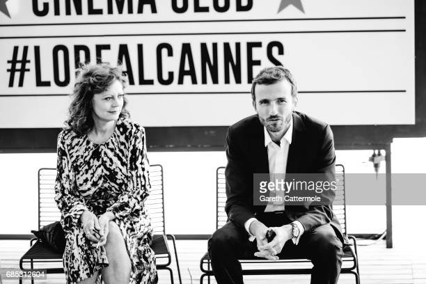Susan Sarandon and Pierre Emmanuel Angeloglou are photographed in the L'Oreal Paris Cinema Club on May 18 2017 in Cannes France