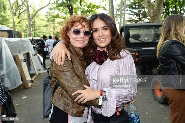 Susan Sarandon and Salma Hayek Pinault attend 2015 Global Citizen Festival to end extreme poverty by 2030 in Central Park on September 26 2015 in New...
