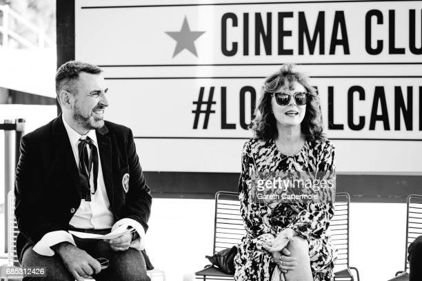Susan Sarandon and the Global L'Oreal Paris communication VP Remy Averna are photographed in the L'Oreal Paris Cinema Club on May 18 2017 in Cannes...