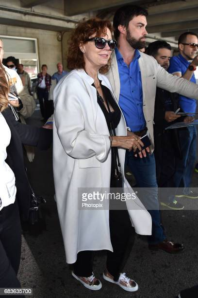 Susan Sarandon arrives at Nice airport ahead of the 70th annual Cannes Film Festival at on May 16 2017 in Cannes France