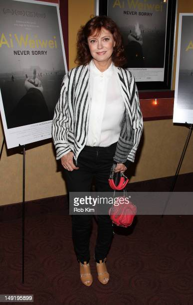 Susan Sarandon attends the 'Ai Weiwei Never Sorry' premiere at Chelsea Clearview Cinemas on July 24 2012 in New York City