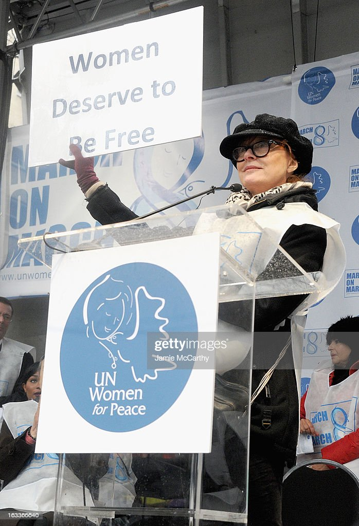 <a gi-track='captionPersonalityLinkClicked' href=/galleries/search?phrase=Susan+Sarandon&family=editorial&specificpeople=202474 ng-click='$event.stopPropagation()'>Susan Sarandon</a> attends the March On March 8 at United Nations on March 8, 2013 in New York City.