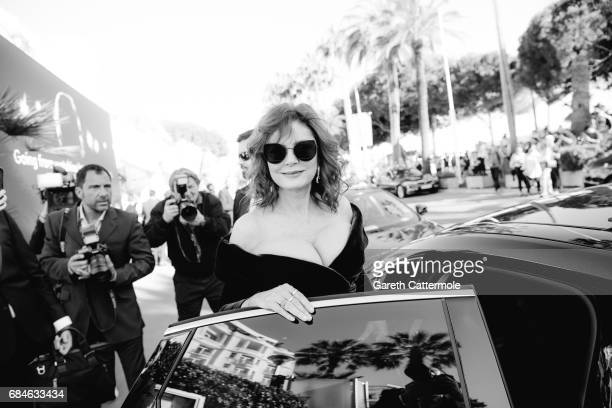 Susan Sarandon departs the Martinez Hotel during the 70th annual Cannes Film Festival on May 17 2017 in Cannes France