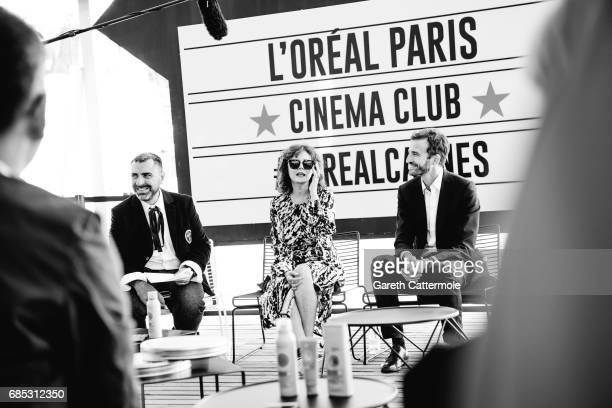 Susan Sarandon Pierre Emmanuel Angeloglou and the Global L'Oreal Paris communication VP Remy Averna are photographed in the L'Oreal Paris Cinema Club...