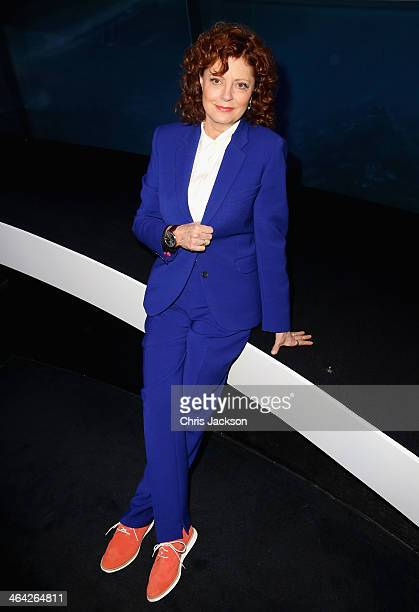 Susan Sarandon visits the IWC booth during the Salon International de la Haute Horlogerie 2014 at the Palexpo on January 21 2014 in Geneva Switzerland