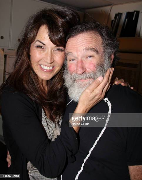 Susan Schneider and fiancee Robin Williams pose backstage at the hit play 'Bengal Tiger at The Baghdad Zoo' on Broadway at The Richard Rogers Theater...