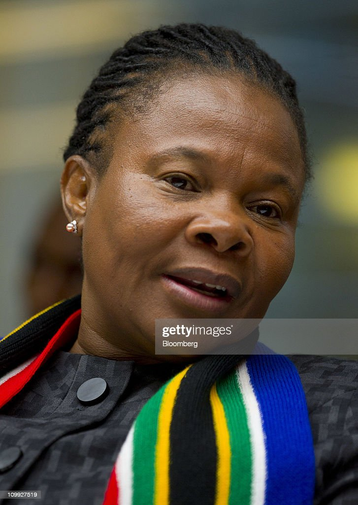 Susan Shabangu, minister of mining for South Africa, speaks during an interview in New York, U.S., on Thursday, March 10, 2011. The government needs to 'revisit' disputes about overlapping mining licenses as part of a review of South Africa's new Mining Act, Shabangu said last month. Photographer: Jin Lee/Bloomberg via Getty Images