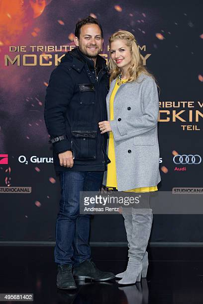 Susan Sideropoulos and Jakob Shtizberg attend the world premiere of the film 'The Hunger Games Mockingjay Part 2' at CineStar on November 4 2015 in...