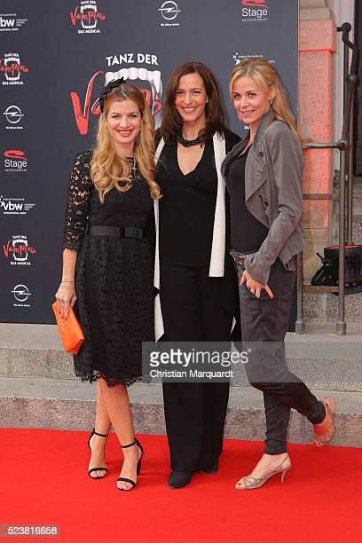 Susan Sideropoulos Ulrike Frank and Jessica Ginkel attend the premiere of the musical 'Tanz der Vampire' at Stage Theater des Westens on April 24...