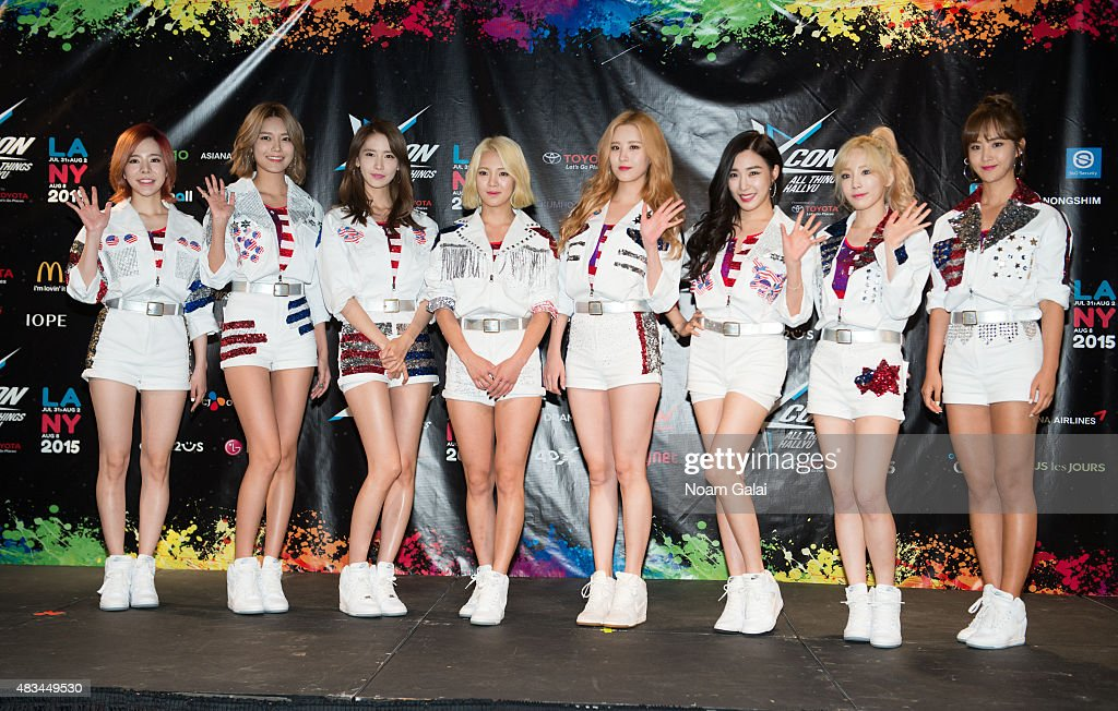 Susan Soonkyu Lee, Choi Soo-young, Im Yoona, Kim Hyo-yeon, Seo Ju-hyun, Stephanie Young Hwang, Kim Tae-yeon, and Kwon Yuri of Girls' Generation attend the 2015 K-Pop Festival at Prudential Center on August 8, 2015 in Newark, New Jersey.