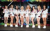Susan Soonkyu Lee Choi Sooyoung Im Yoona Kim Hyoyeon Seo Juhyun Stephanie Young Hwang Kim Taeyeon and Kwon Yuri of Girls' Generation attend the 2015...