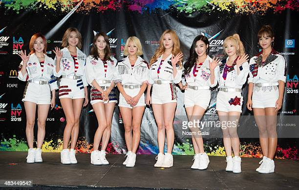 Susan Soonkyu Lee Choi Sooyoung Im Yoona Kim Hyoyeon Seo Juhyun Stephanie Young Hwang Kim Taeyeon and Kwon Yuri of Girls' Generation attend the 2015...