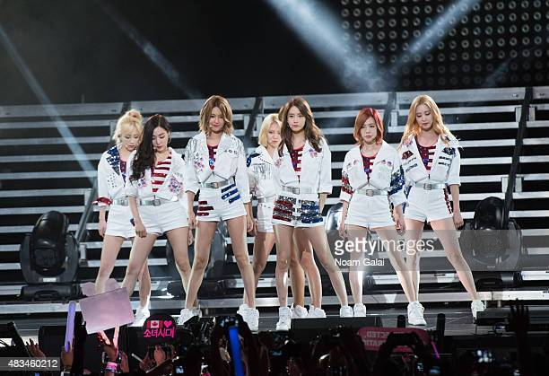 Susan Soonkyu Lee Choi Sooyoung Im Yoona Kim Hyoyeon Seo Juhyun Stephanie Young Hwang Kim Taeyeon and Kwon Yuri of Girls' Generation perform at the...