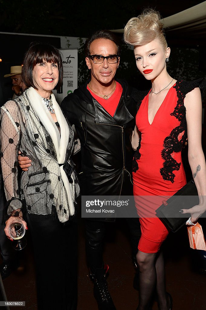 Susan Stein, designer Lloyd Klein and recording artist Ivy Levan arrive for A la mode Productions Presents Designers Night Out at Sofitel Hotel on October 3, 2013 in Los Angeles, California.