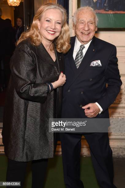 Susan Stroman and Mel Brooks attend the press night performance of 'Mel Brooks' Young Frankenstein' at The Garrick Theatre on October 10 2017 in...