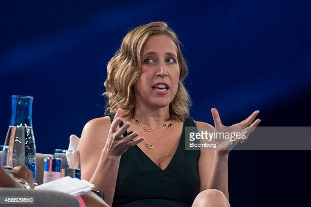 Susan Wojcicki chief executive officer of YouTube Inc speaks during the DreamForce Conference in San Francisco California US on Thursday Sept 17 2015...