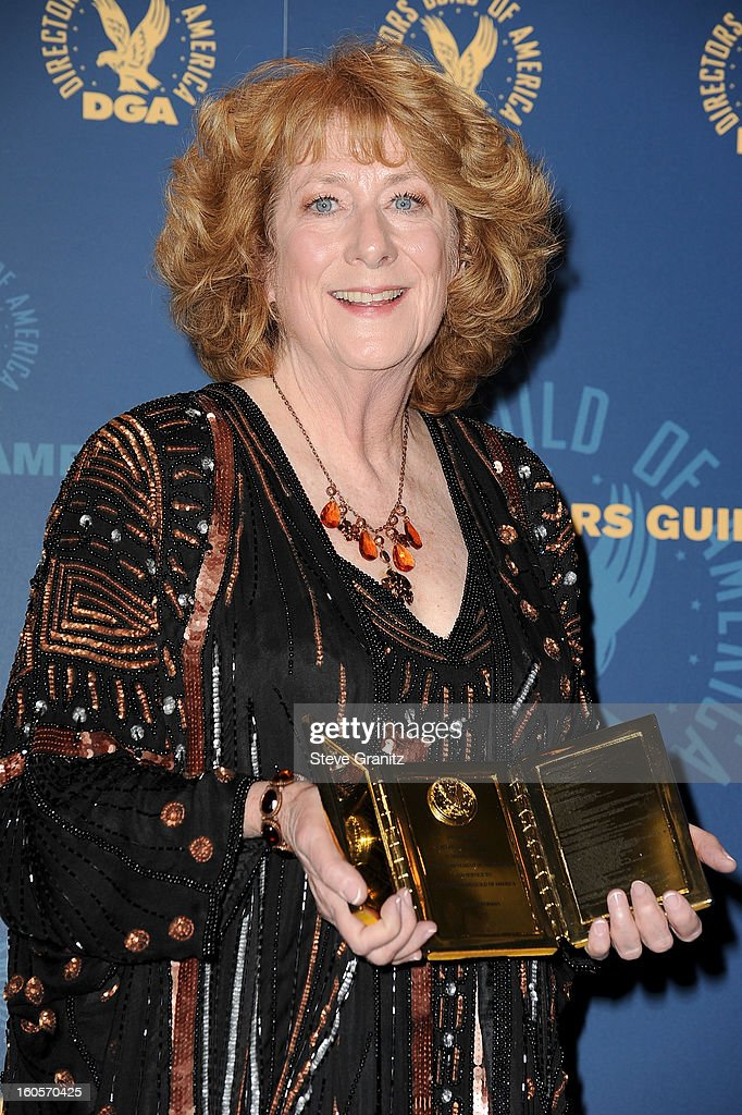Susan Zwerman, winner of the Frank Capra Achievement Award, poses in the press room at the 65th Annual Directors Guild Of America Awards at The Ray Dolby Ballroom at Hollywood & Highland Center on February 2, 2013 in Hollywood, California.