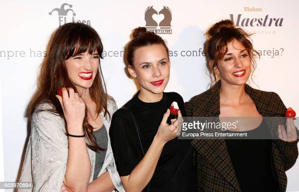 Susana Abaitua Aura Garrido and Silvia Alonso attend 'El Amante' press night at Pavon Kamikaze Theatre on March 16 2017 in Madrid Spain