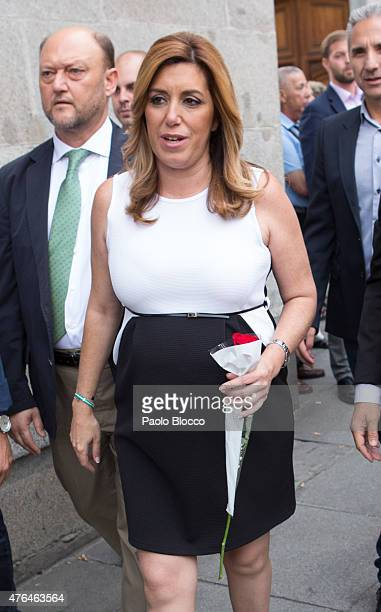 Susana Diaz attends the funeral chapel for Pedro Zerolo at Casa de la Villa on June 9 2015 in Madrid Spain
