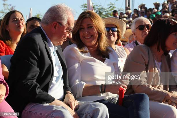 Susana Diaz with Alfonso Guerra during the rally closes of primary campaigns of Susana Diaz to the candidacy of secretary of the PSOE in Seville on...