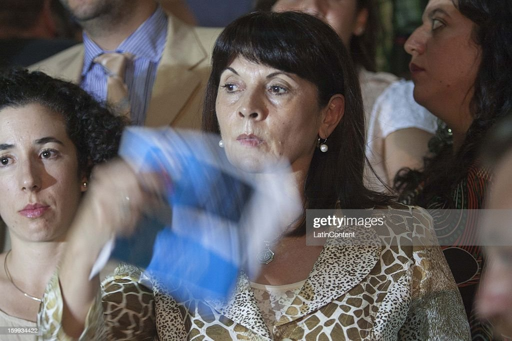 Susana Trimarco awaits the verdict of the trial for the kidnapping and disappearance of Marita Veron at Plaza Irigoyen on December 11 2012 in Tucuman...