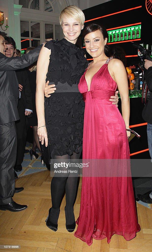 Susann Atwell and Miriam Pielhau attend the 'Movie meets Media' Night at Hotel Atlantic on December 3 2010 in Hamburg Germany