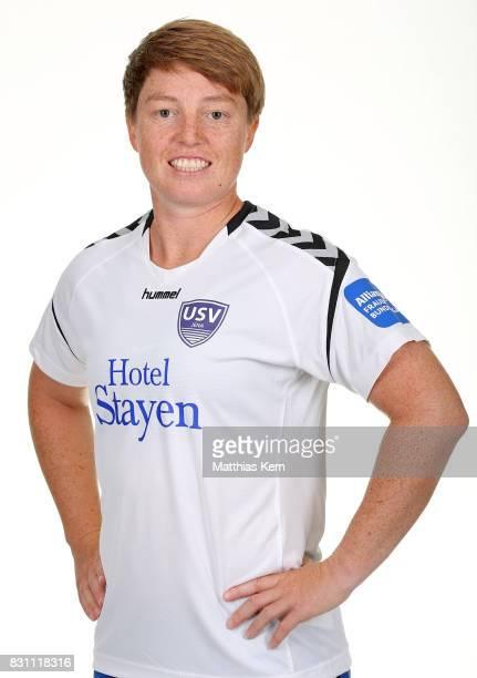 Susann Utes of FF USV Jena poses during the Allianz Frauen Bundesliga Club Tour at Ernst Abbe Sportfeld on August 11 2017 in Jena Germany