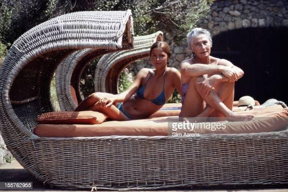 Susanna Agnelli Contessa Rattazzi Italian politician posing beside her daughter Delfina Rattazzi at home in Santa Liberata Porto Ercole Italy in...