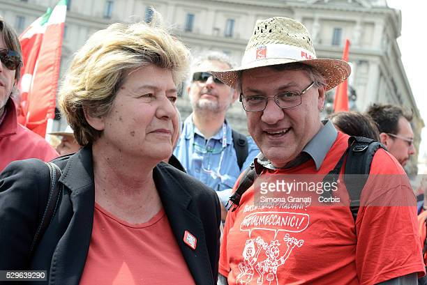 Susanna Camusso secretary of the CGIL union and Maurizio Landini secretary of the union FIOM join protesters supporting the Stop TTIP demonstrate...