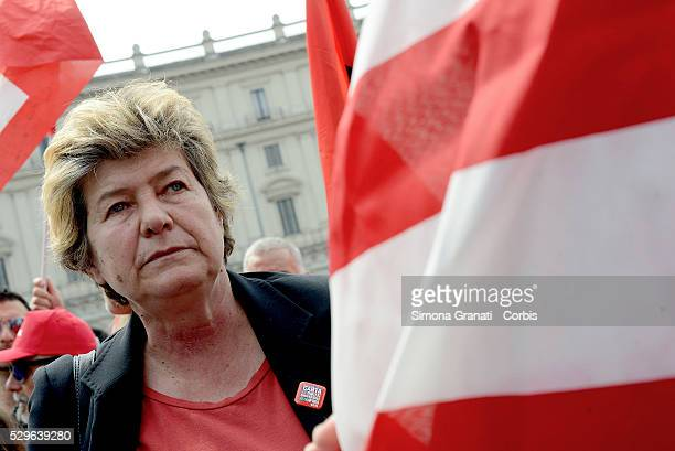 Susanna Camusso secretary of the CGIL union joins protesters supporting the Stop TTIP demonstrate against the free trade agreement EUUSA and in...