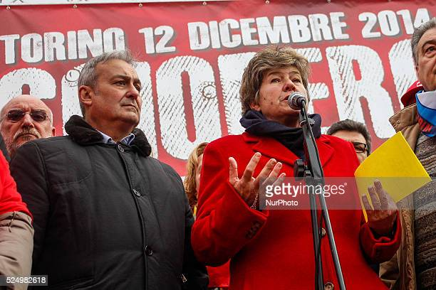Susanna Camusso speaks to workers during the General Strike in Piazza San Carlo