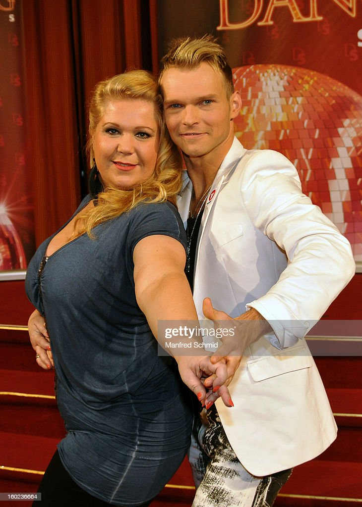 Susanna Hirschler (L) and Vadim Garbuzov (R) are presented as dance partners at a press conference during the eighth season of TV show 'ORF Dancing Stars 2013' on January 28, 2013 in Vienna, Austria.