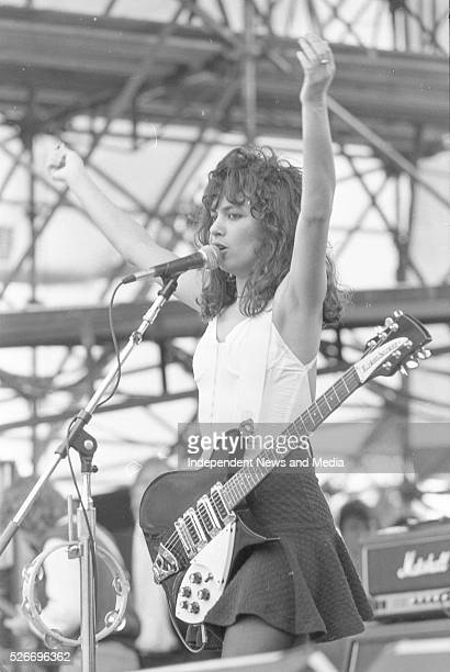 Susanna Hoffs of The Bangles who were one of the support bands for Queen at Slane Castle 5/7/86 Photographer Martin Nolan