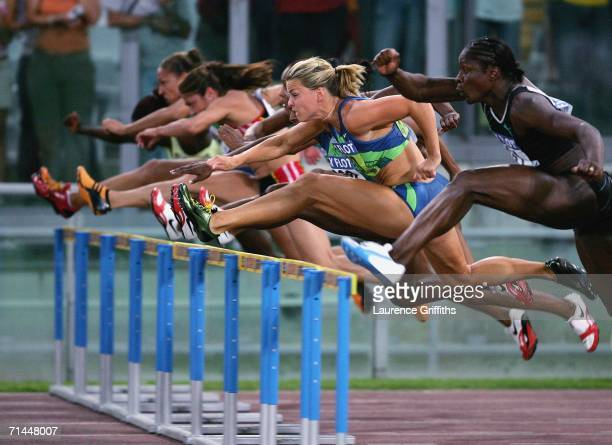 Susanna Kallur of Sweden on her way to victory in the Womens 100m Hurdles during the IAAF Golden League Golden Gala meeting on July 14 2006 at the...