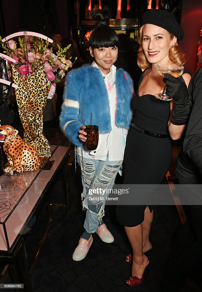 Susanna Lau (L) and Charlotte Dellal attend an intimate cocktail event hosted at Agent Provocateur Grosvenor Street boutique to celebrate the launch of the Agent Provocateur and Charlotte Olympia capsule collection on February 10, 2016 in London, England.