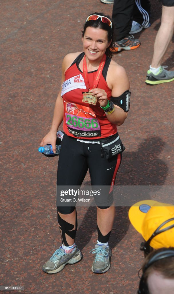 Susanna Reid poses at the finish line at the 2013 Virgin London M on April 21, 2013 in London, England.