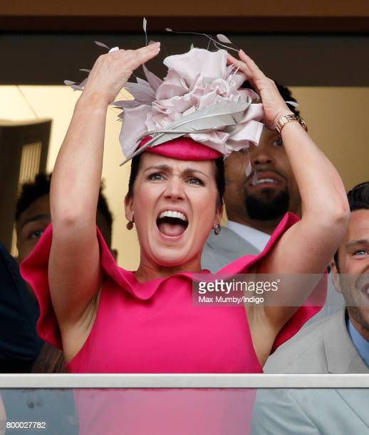 Susanna Reid watches the Gold Cup as she attends day 3 Ladies Day of Royal Ascot at Ascot Racecourse on June 22 2017 in Ascot England