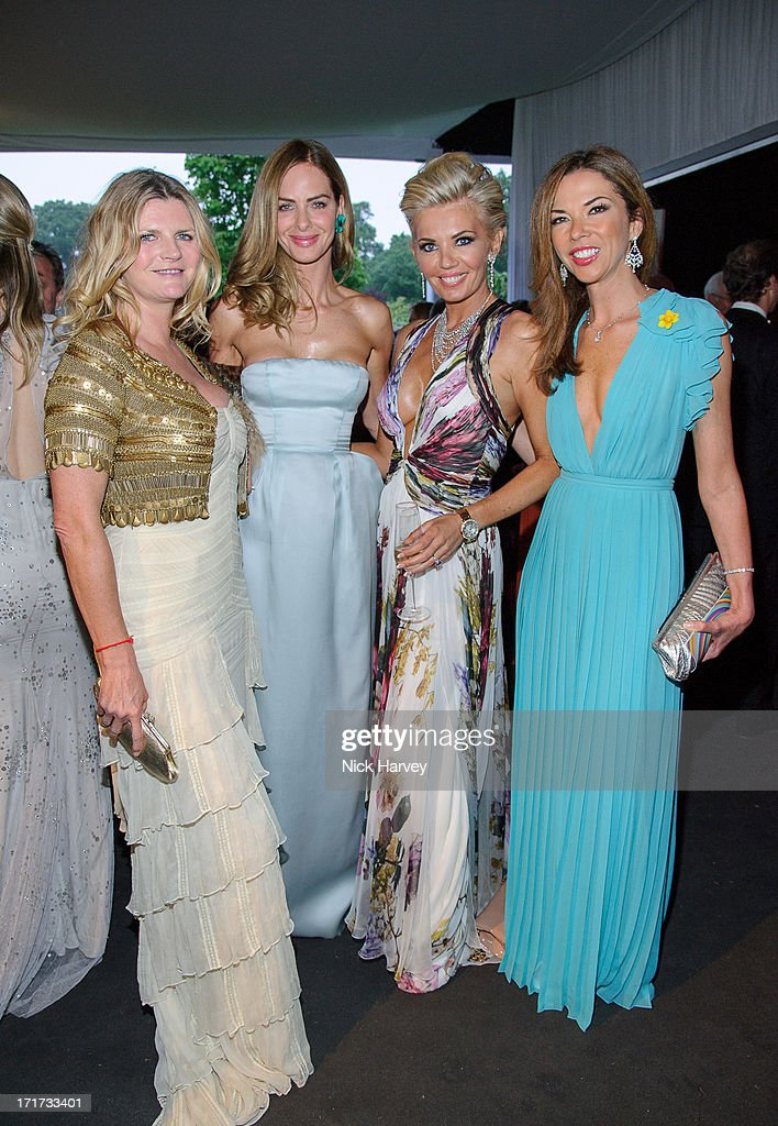 Susannah Constantine, Trinny Woodall, Claire Caudwell and Heather Kerzner attend the 15th Annual White Tie and Tiara Ball to Benefit Elton John AIDS Foundation in Association with Chopard at Woodside on June 27, 2013 in Windsor, England. No sales to online/digital media worldwide until the 14th of July. No sales before July 14th, 2013 in UK, Spain, Switzerland, Mexico, Dubai, Russia, Serbia, Bulgaria, Turkey, Argentina, Chile, Peru, Ecuador, Colombia, Venezuela, Puerto Rico, Dominican Republic, Greece, Canada, Thailand, Indonesia, Morocco, Malaysia, India, Pakistan, Nigeria. All pictures are for editorial use only and mention of 'Chopard' and 'The Elton John Aids Foundation' are compulsory. No sales ever to Ok, Now, Closer, Reveal, Heat, Look or Grazia magazines in the United Kingdom. No sales ever to any jewellers or watchmakers other than Chopard.