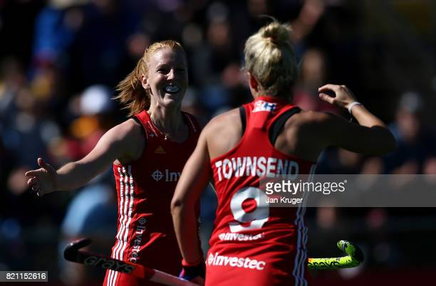 Susannah Townsend of England celebrates her goal with Nicola White during day 9 of the FIH Hockey World League Women's Semi Finals 3rd/ 4t place...