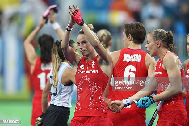 Susannah Townsend of Great Britain applaudes the crowd after victory during the women's pool B match between Great Britain and Argentina on Day 5 of...