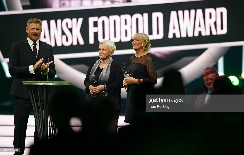 Susanne Augustesen and Lone Schmidt Nielsen are announced on stage as new member of the Danish Fodboldens Hall of Fame (Footballs Hall of Fame) during the Danish Football Award Show at Forum Horsens on March 20, 2017 in Horsens, Denmark.