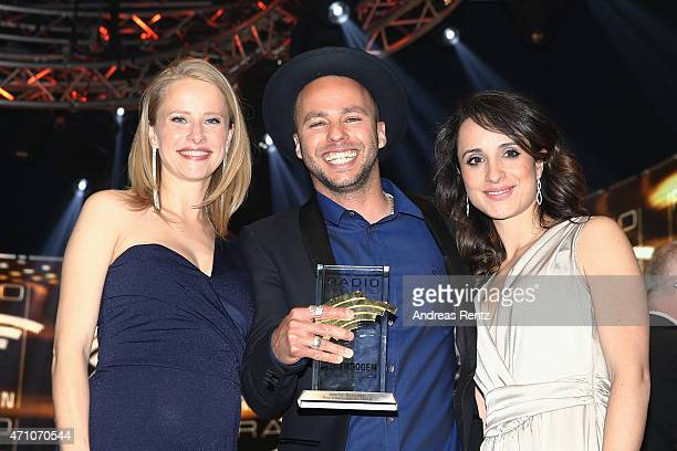 Susanne Bormann Marlon Roudette and Stephanie Stumph attend the Radio Regenbogen Award 2015 at Europapark on April 24 2015 in Rust Germany
